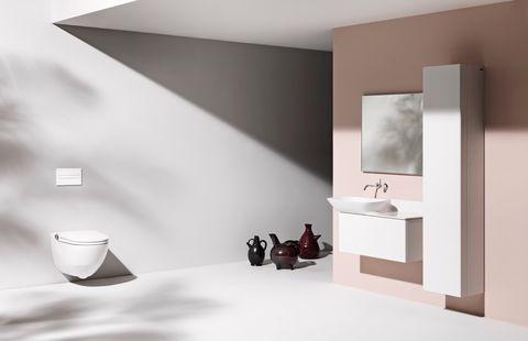 Room, Bathroom, Interior design, Furniture, Wall, Shelf, Floor, Tap, Material property, Architecture,