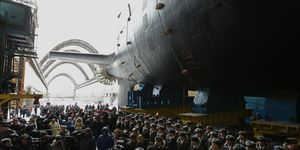 Kazan nuclear-powered attack submarine launches in Severodvinsk