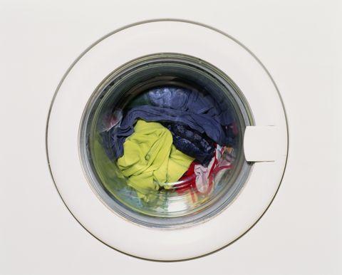 Laundry in washing machine, close-up