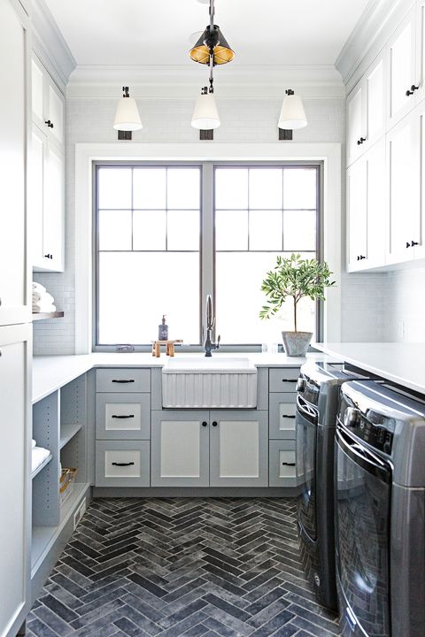 blue and gray laundry room