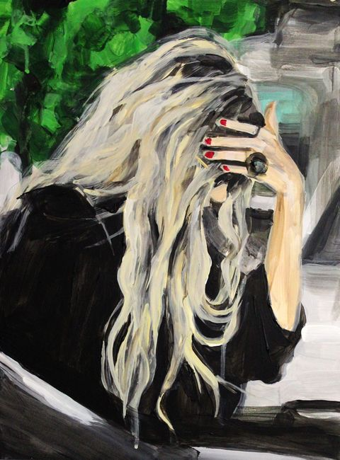 laura collins olsen twins hiding from the paparazzi painting