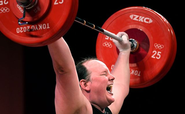 tokyo,japan august 2, 2021 new zealands laurel hubbard, the first transgender olympian, cant make the lift on his final try in the womens 87kg weightlifting final at the 2020 tokyo olympics wally skalij los angeles times via getty images