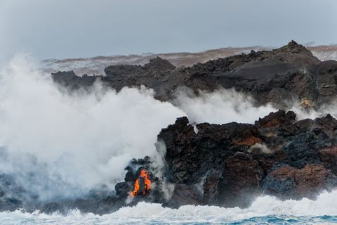 Kilauea Lava Flows Into Ocean