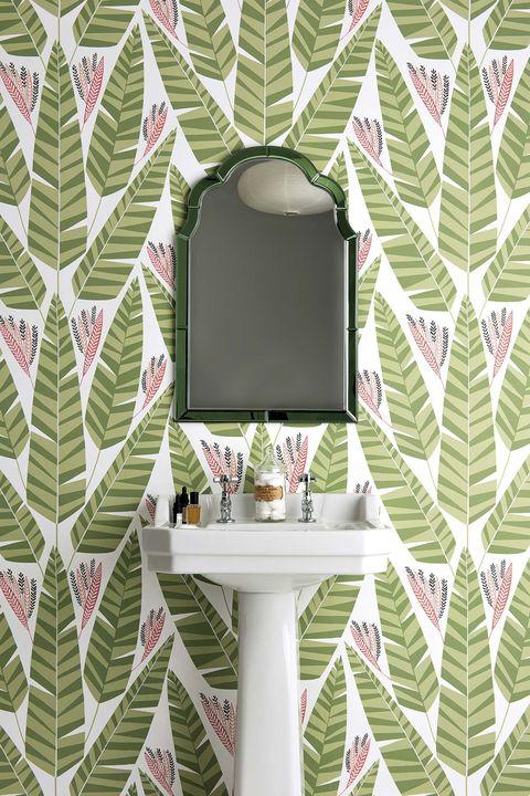para el baño pared de lavabo con papel pintado jungle de hojas