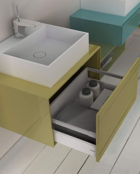 lavabo con mueble de un cajón volado