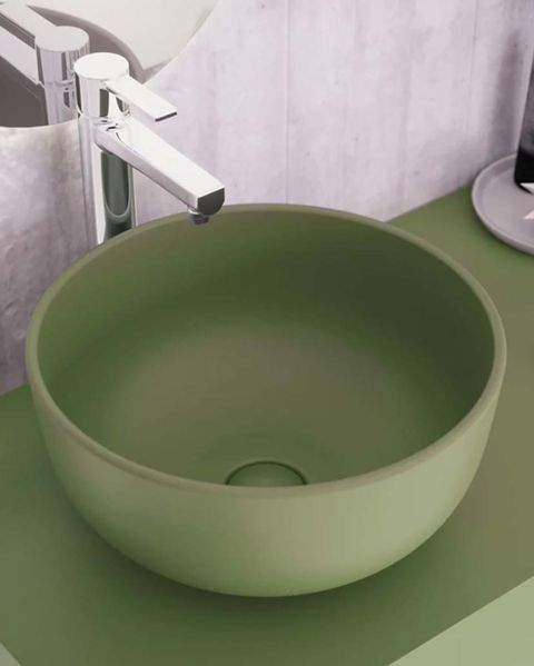 lavabo redondo de color verde benzo