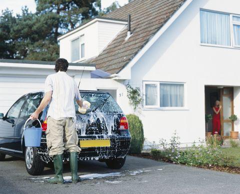 Man Washing Automobile