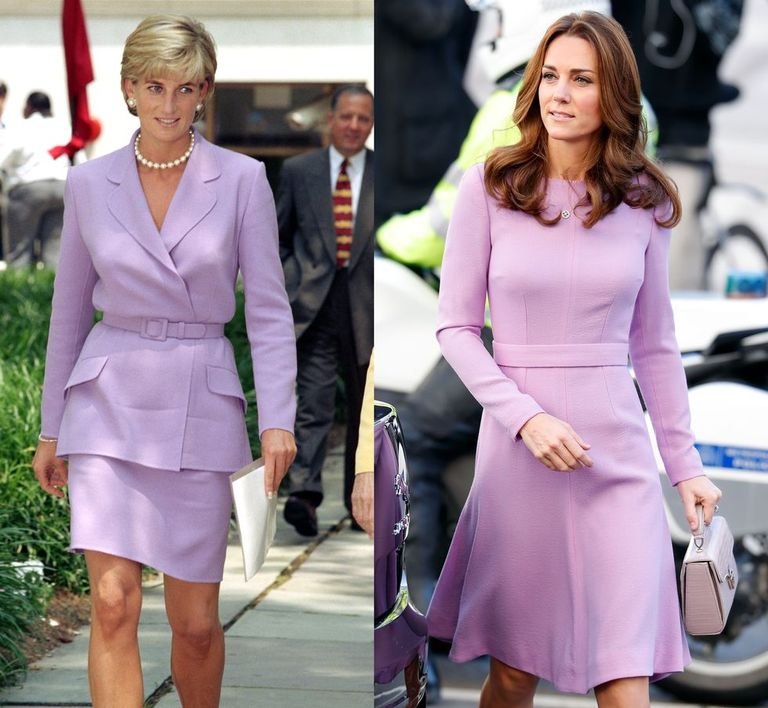 Princess Diana dressed in a lavender skirt suit while visiting Washington D.C. in 1997 and Kate wearing lavender Emilia Wickstead while attending the Global Ministerial Mental Health Summit on October 9, 2018.