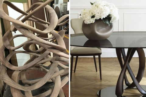 Furniture, Table, Chair, Room, Material property, Interior design, Wood, Plant, Dining room, Natural material,