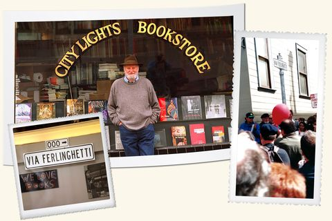 lawrence ferlinghetti, city lights bookstore, via ferlinghetti