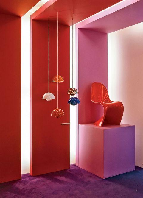 Red, Orange, Pink, Interior design, Room, Wall, Furniture, Door, Magenta, Architecture,