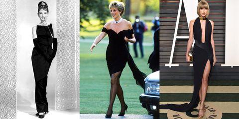 Fashion model, Dress, Clothing, Little black dress, Black, Shoulder, Fashion, Cocktail dress, Leg, Footwear,
