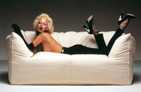 Furniture, Blond, Couch, Leg, Photography, Photo shoot, Comfort, High heels, Sitting,