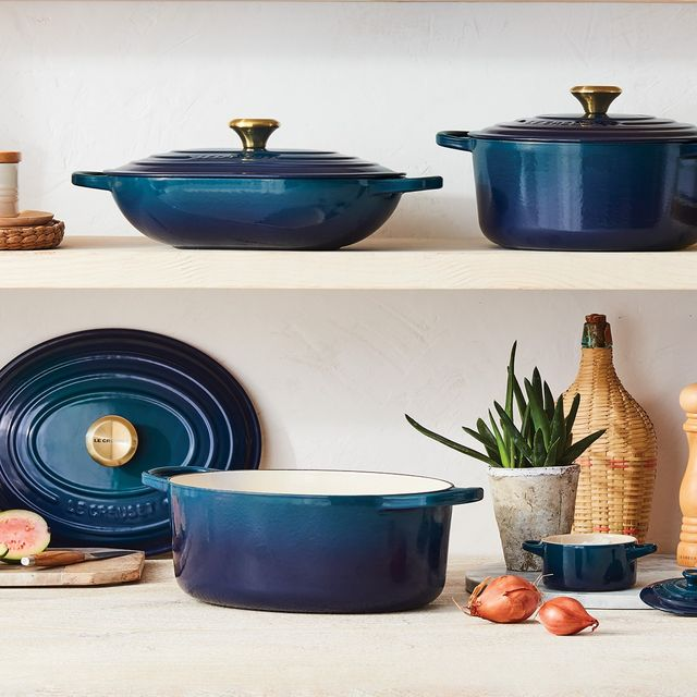 le creuset cookware in agave, a rich green blue color