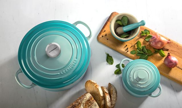 le creuset's cool mint collection with qvc