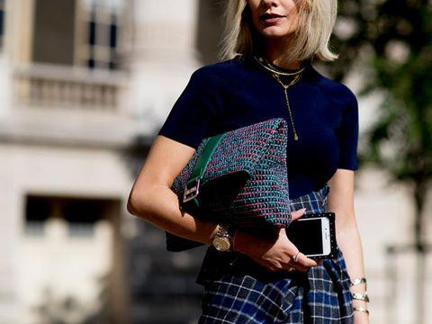 Plaid, Tartan, Street fashion, Clothing, Pattern, Fashion, Textile, Shoulder, Cobalt blue, Design,