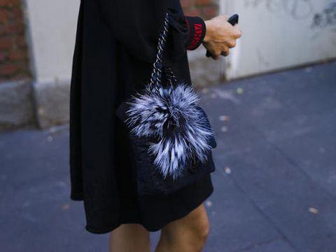 Street fashion, Clothing, Black, Fur, Fashion, Outerwear, Snapshot, Waist, Footwear, Leather,