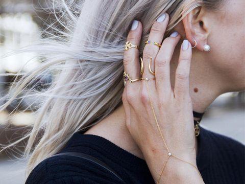 Ear, Finger, Jewellery, Hairstyle, Skin, Earrings, Fashion accessory, Wrist, Style, Body jewelry,