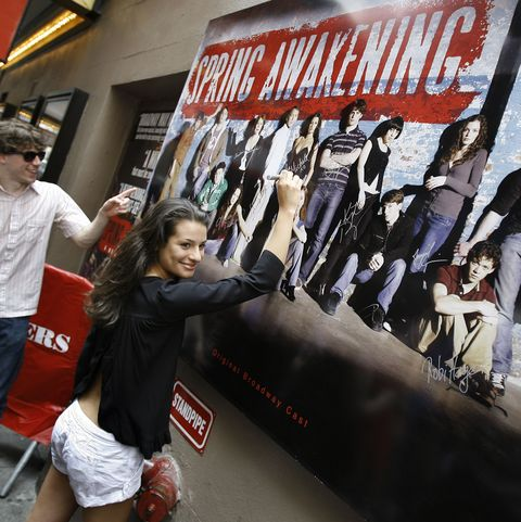 "the cast of tony award winning musical ""spring awakening"" unveils new billboard at the eugene o' neill theater   june 27, 2007"