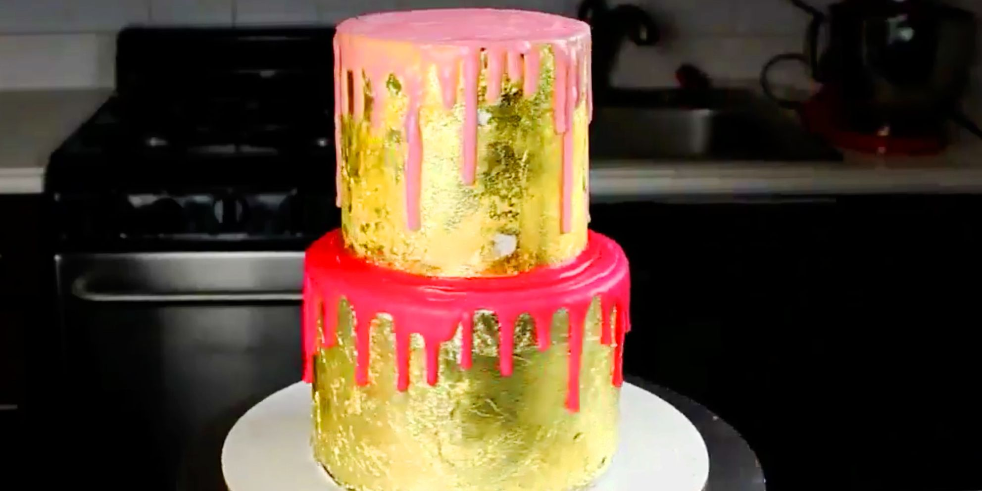 This Dreamy AF Cake Is Made With Rosé and Covered In Gold
