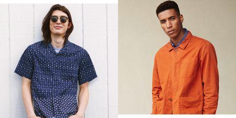 Clothing, Collar, Orange, Sleeve, Eyewear, Fashion, Dress shirt, Shirt, T-shirt, Neck,