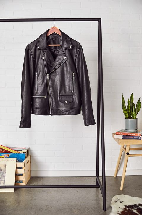 Clothing, Leather, Jacket, Leather jacket, Textile, Outerwear, Clothes hanger, Top, Room, Sleeve,