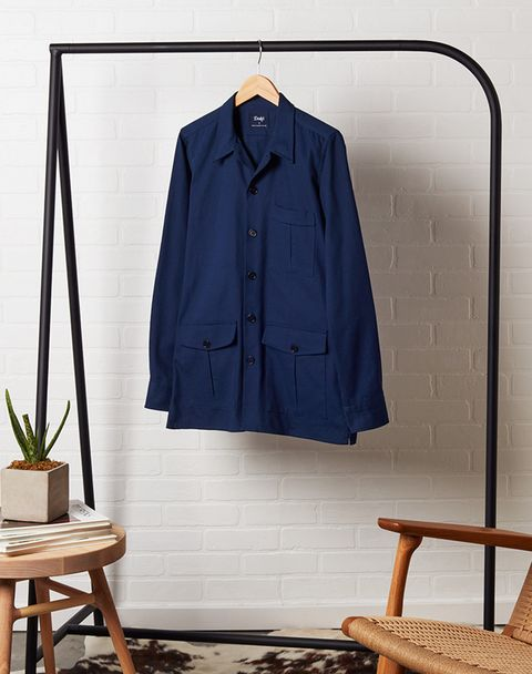 Clothes hanger, Clothing, Blue, Outerwear, Sleeve, Blouse, Shirt, Top, Home accessories, Denim,
