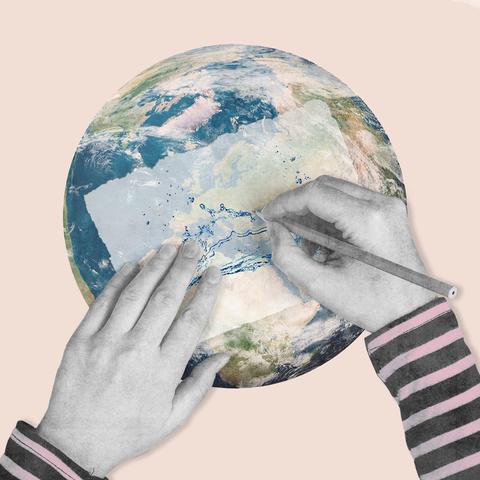 Finger, Astronomical object, Planet, World, Wrist, Paint, Earth, Globe, Aqua, Interior design,
