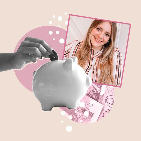 Pink, Blond, Nail, Gesture, Milk, Paper product, Paper, Saving, Polka dot, Dairy,