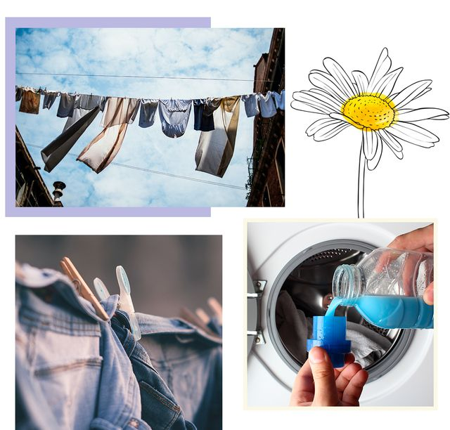 clothes hung up and fabric conditioner