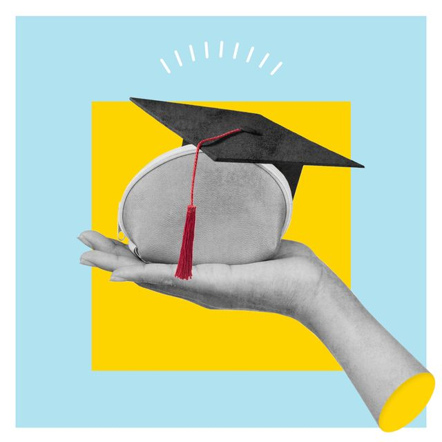 hand holding a purse with a mortar board on
