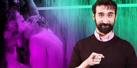 Beard, Facial hair, Purple, Magenta, Moustache, Sweater, Violet, Back, Thumb, Gesture,