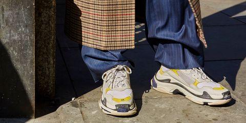Footwear, Shoe, White, Yellow, Sneakers, Plimsoll shoe, Street fashion, Sportswear, Jeans, Athletic shoe,