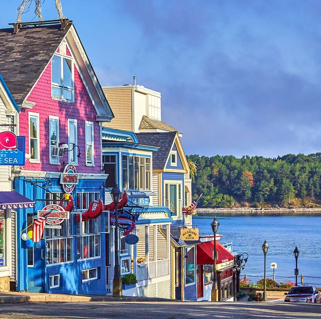 old wooden store buildings on waterfront at the town of bar harbor in acadia national park maine
