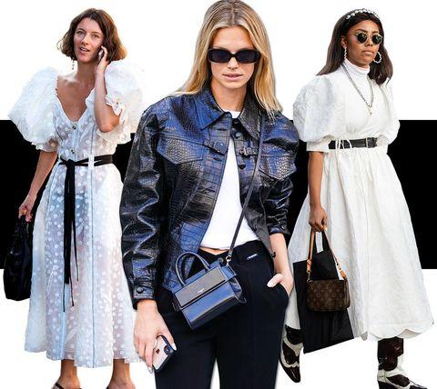 Clothing, White, Fashion, Street fashion, Fashion model, Outerwear, Eyewear, Dress, Shoulder, Denim,
