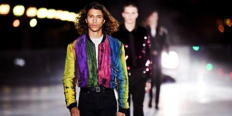 Fashion, Fashion model, Runway, Street fashion, Fashion show, Electric blue, Human, Fashion design, Event, Jacket,