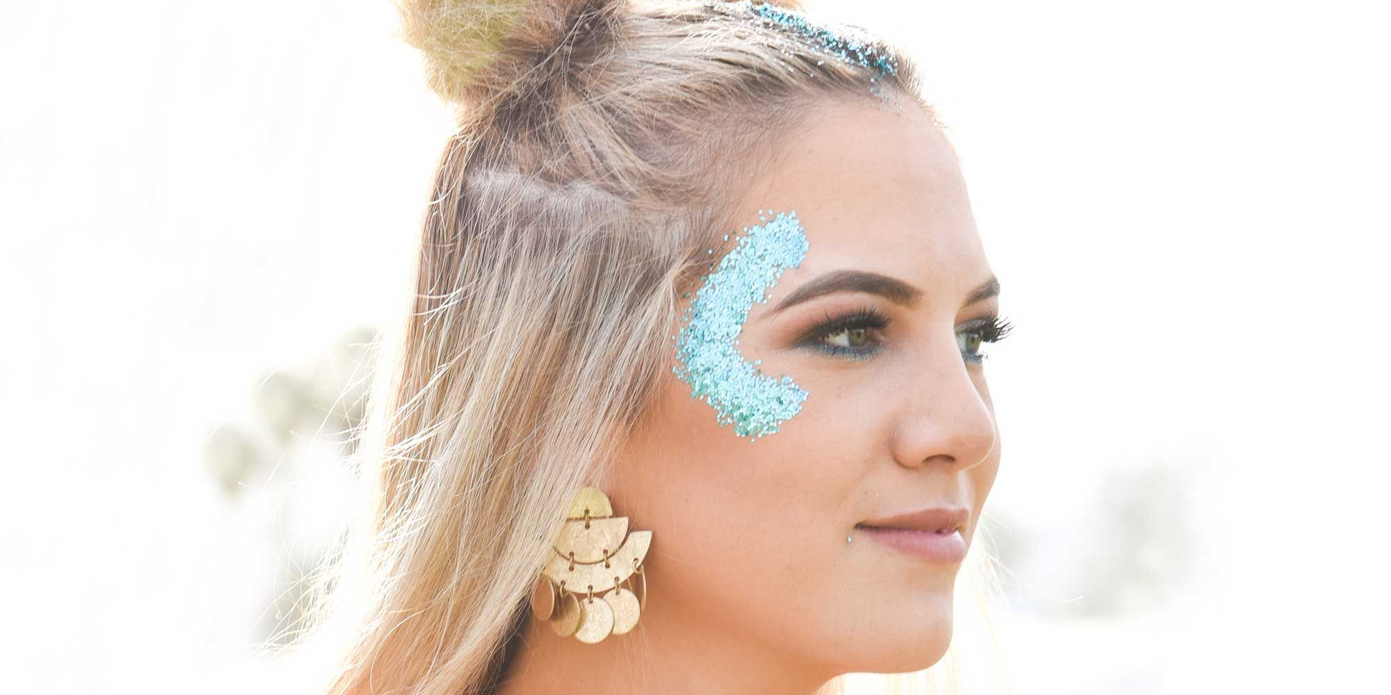 1d10fc498a4 Hair and Makeup at Coachella 2018 — Music Festival Glitter Beauty Trend