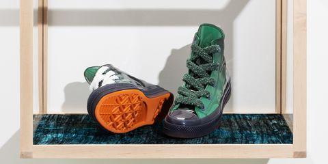 Footwear, Shoe, Green, Orange, Sneakers, Athletic shoe,