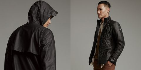 Clothing, Jacket, Outerwear, Leather, Leather jacket, Sleeve, Textile, Hood, Top, Collar,