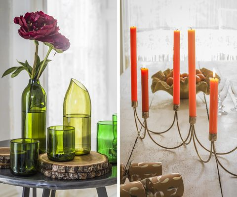 Candle, Yellow, Vase, Flower, Floral design, Plant, Glass bottle, Table, Still life photography, Floristry,