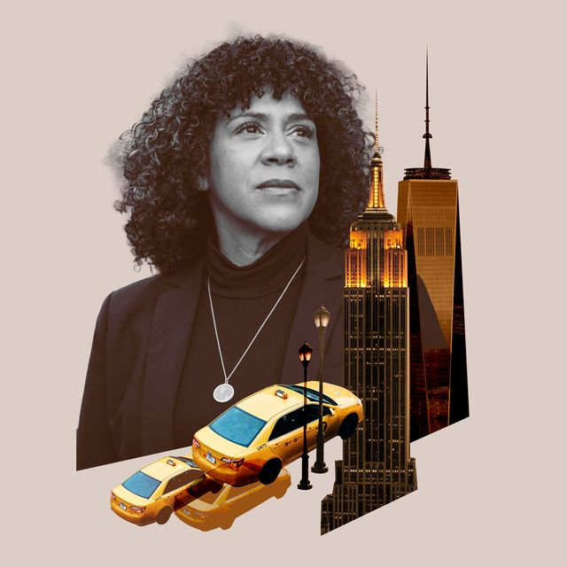 collage of diane with nyc taxis, lamplights, the freedom tower, and the empire state building
