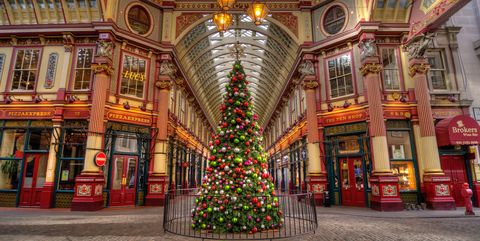 leadenhall market with giant christmas tree london