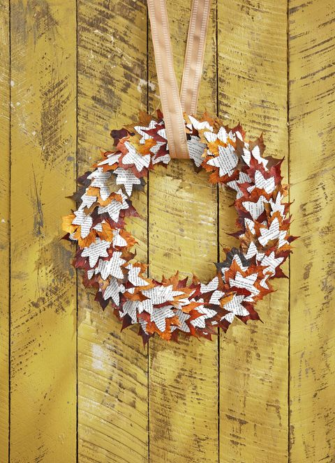 leaf and book paper wreath