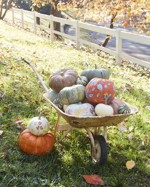 leaf motif pumpkins easy painted pumpkins