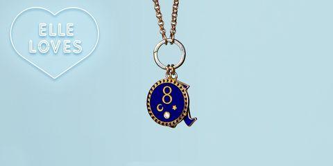 Jewellery, Pendant, Fashion accessory, Necklace, Locket, Body jewelry, Chain, Cobalt blue, Circle, Metal,