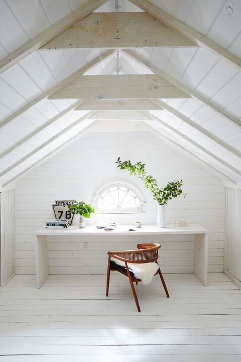 White, Room, Floor, Furniture, Ceiling, Interior design, Table, Wall, Attic, House,