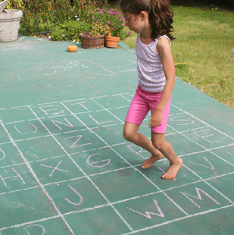 sidewalk chalk learning activity