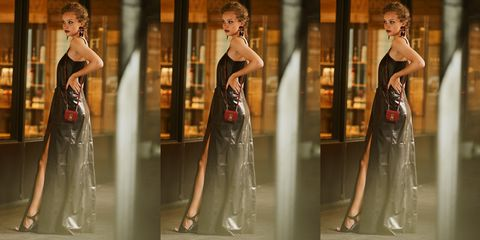 Dress, Fashion model, Clothing, Shoulder, Gown, Fashion, Cocktail dress, Bridal party dress, Joint, Haute couture,