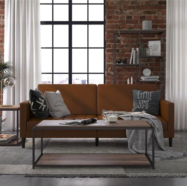 industrial living room style with leather futon
