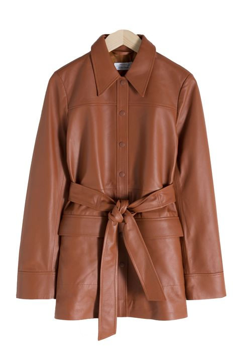 leather fashion - belted leather jacket & Other stories